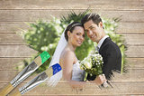 Composite image of newlyweds smiling at camera