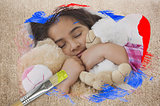 Composite image of little girl cuddling teddys