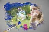 Composite image of little girl blowing bubbles