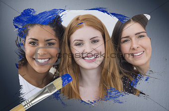 Composite image of pretty friends smiling at camera