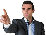 Handsome young businessman pointing