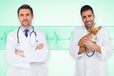 Composite image of happy doctor and vet
