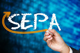 Businessman writing the word sepa