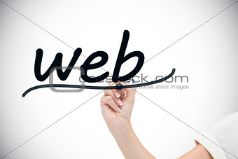 Businesswoman writing the word web