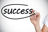 Businesswoman writing the word success