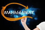 Businesswoman writing the word management