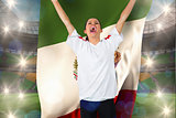 Composite image of football fan in white cheering holding mexico flag
