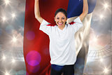 Composite image of football fan in white cheering holding chile flag