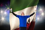 Composite image of goalkeeper celebrating a win