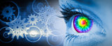 Composite image of pyschedelic eye on blue face