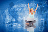Composite image of joyful woman with a notebook