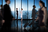 Composite image of businesswomen talking