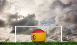Composite image of football in spain colours