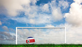 Composite image of football in costa rica colours
