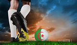Composite image of football boot kicking algeria ball