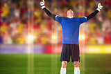 Composite image of goalkeeper celebrating a win