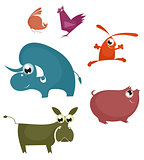 Comic farm animal collection for design