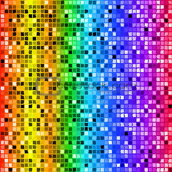 Bright rainbow colored rectangle mosaic seamless pattern