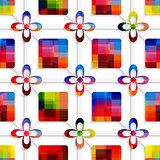 Colorful squares and colorful flowers on net seamless pattern