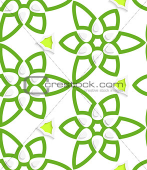 Green layered floristic swirl lace seamless pattern