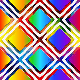 Rainbow colored rectangles and rim on rainbow seamless pattern