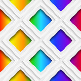 Rainbow colored rectangles holes and rim seamless pattern