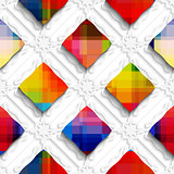 Rainbow colored rectangles on white ornament seamless pattern