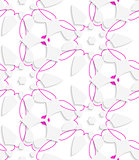 White  geometrical floristic with purple layering seamless patte