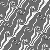 White and gray curved lines and swirls seamless