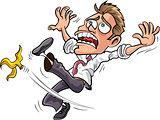 Cartoon businessman slipping on a banana peel