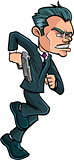 Cartoon running spy in a suit with a gun