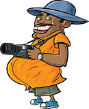 Cartoon tourist with a camera