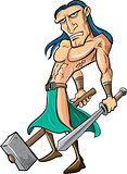 Cartoon barbarian with sword and hammer