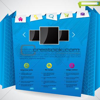 Blue origami website template