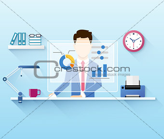 Illustration of office worker using computer
