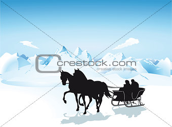 Sleigh in the mountains