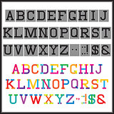 alphabet in the abstract and retro style