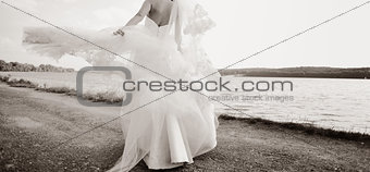 Caucasian beautiful bride on wedding day.