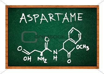 Aspartame chemical formula on school chalkboard