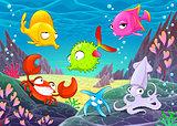 Funny happy animals under the sea.