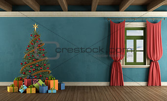 Mountain house with Christmas tree