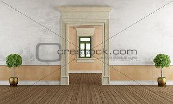 Old room with stone doorway