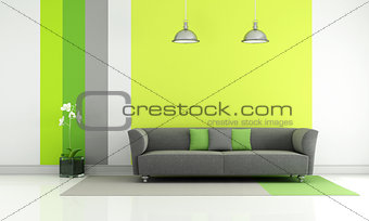 Green and gray living room