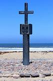 Stone cross at Cape Cross Bay, Skeleton Coast Namibia