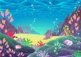 Funny cartoon seascape.