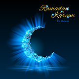 Greeting card of holy Muslim month Ramadan in blue