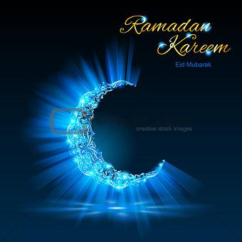 Greeting card of holy Muslim month Ramadan in blue