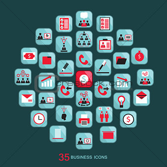 Flat business icons set Vector illustration