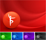 Yoga Icon on Multi Colored Abstract Wave Background