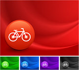 Bicycle Icon on Multi Colored Abstract Wave Background